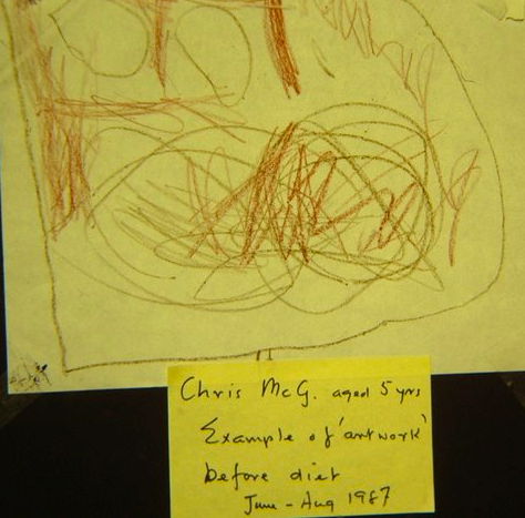 Chris McG aged 5 yrs. Example of art work before diet June-Aug 1987